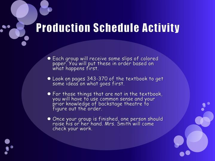 Production schedule activity
