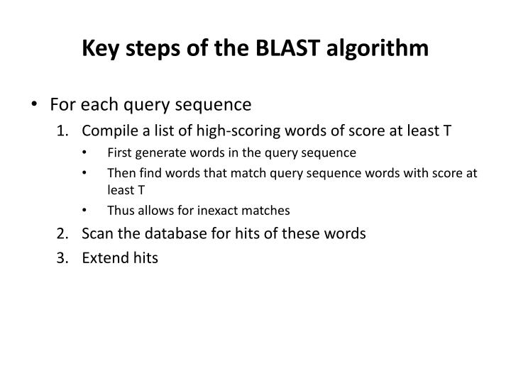 Key steps of the BLAST algorithm