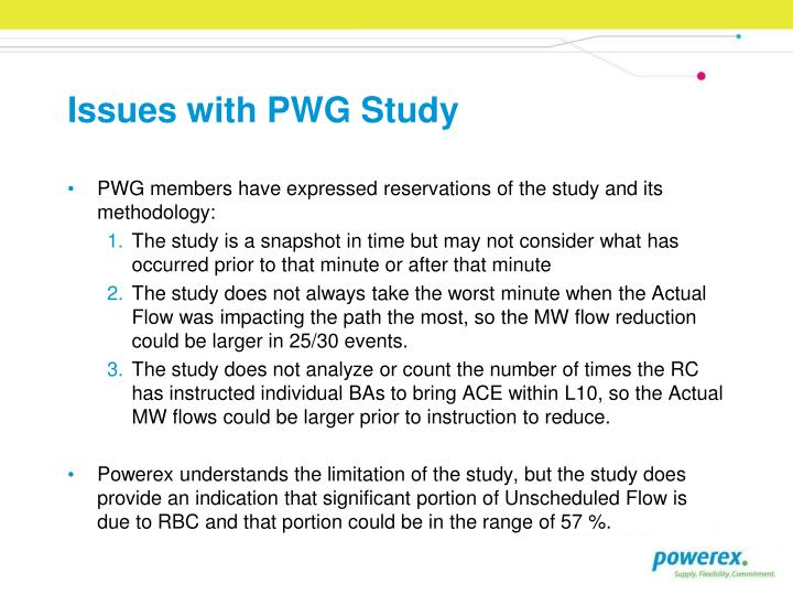 Issues with PWG Study