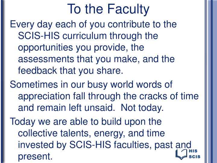 To the Faculty