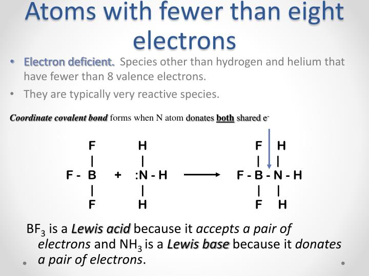Atoms with fewer than eight electrons