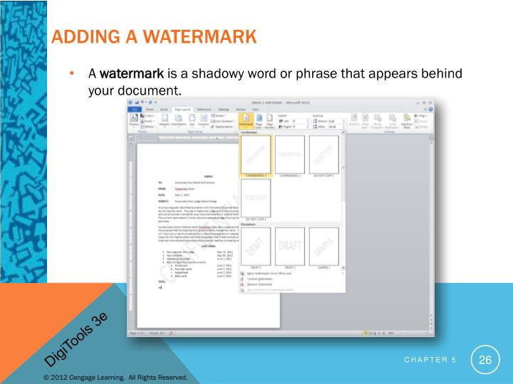 Adding a Watermark