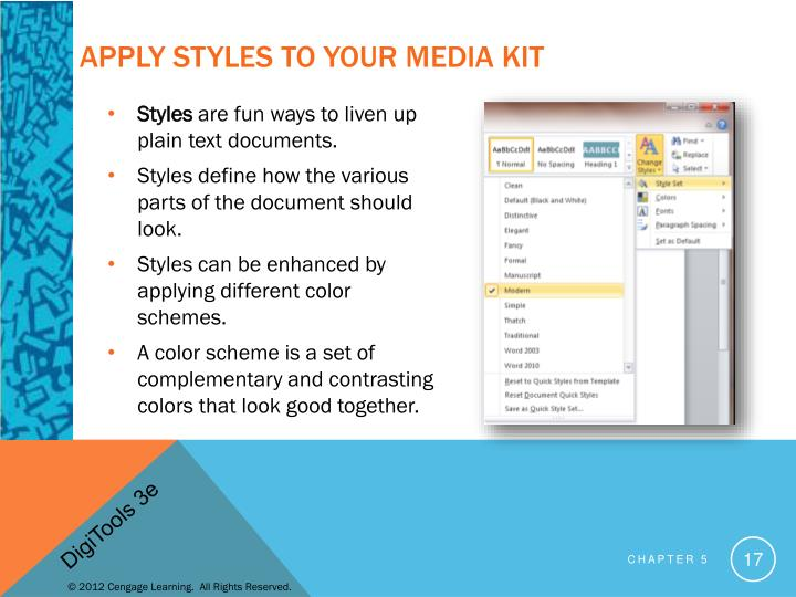 Apply Styles to Your Media Kit