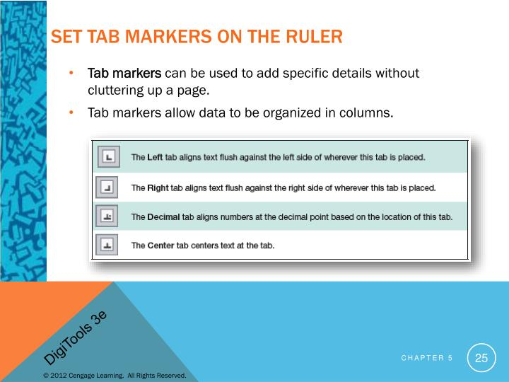 Set Tab Markers on the Ruler