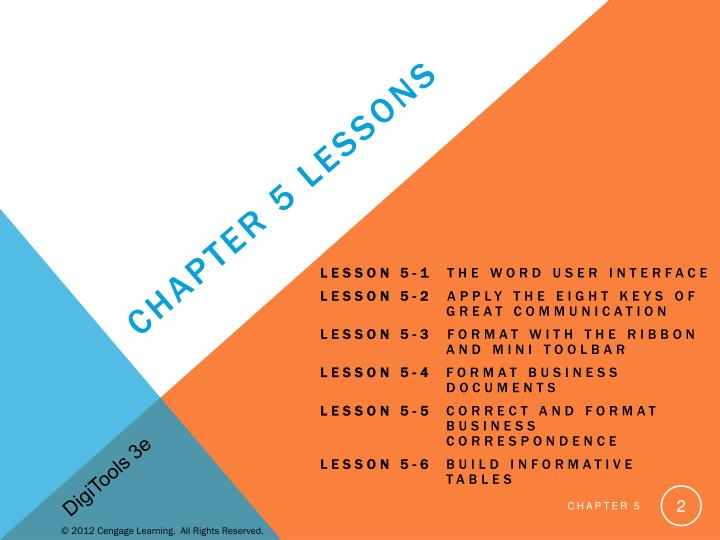 Chapter 5 Lessons
