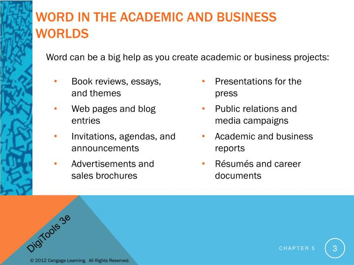 Word in the academic and business worlds