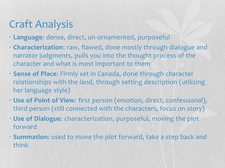 Craft Analysis