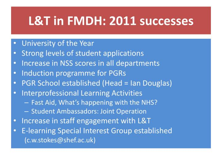 L&T in FMDH: 2011 successes