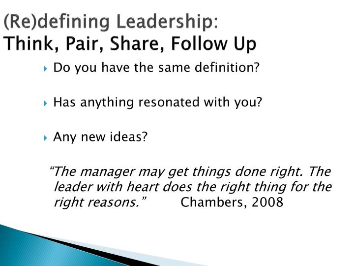 (Re)defining Leadership:
