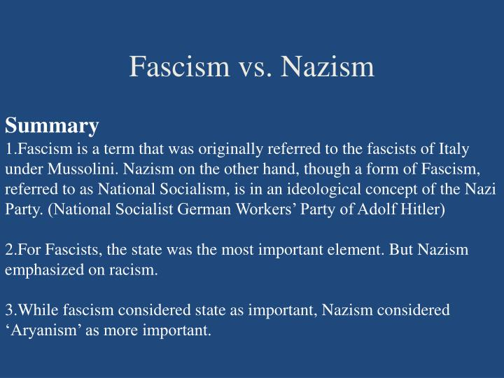 Fascism vs. Nazism
