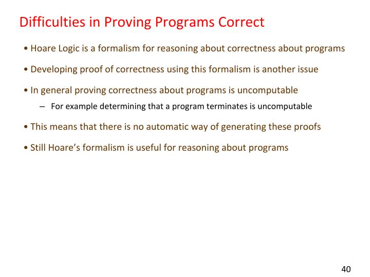 Difficulties in Proving Programs Correct
