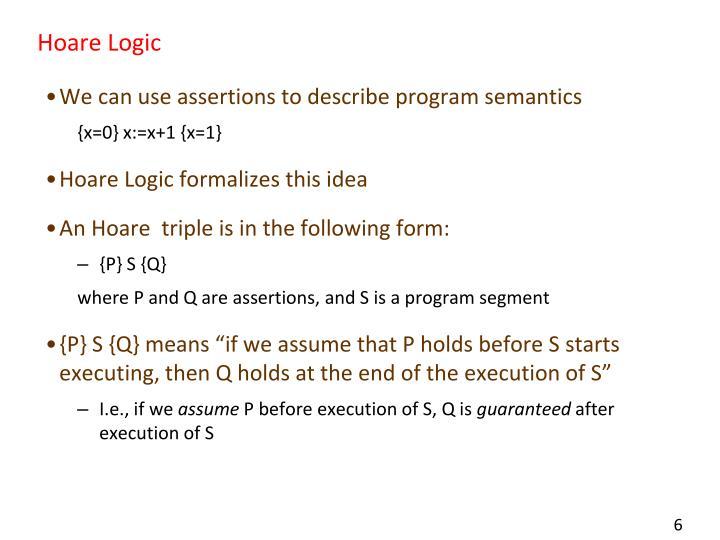 Hoare Logic