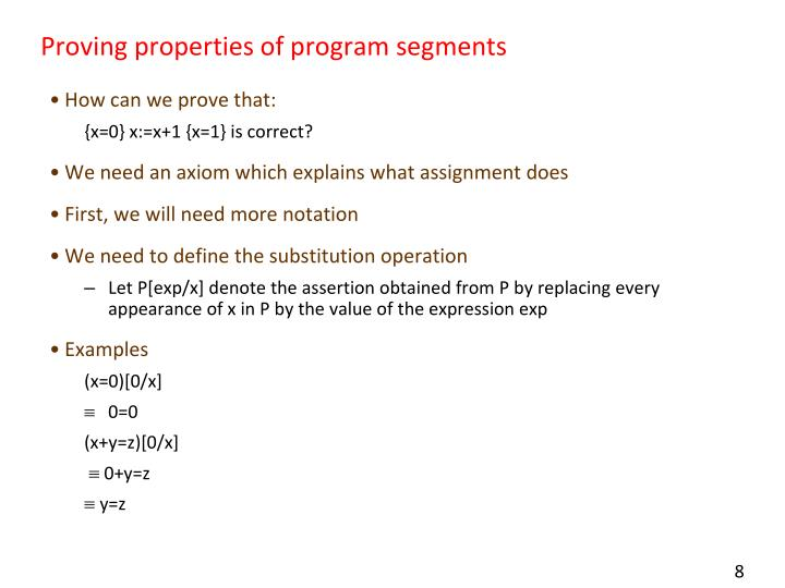 Proving properties of program segments
