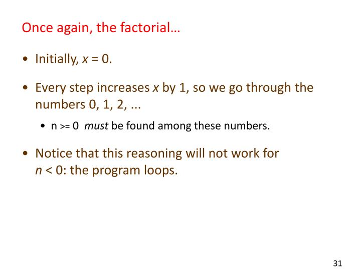 Once again, the factorial…