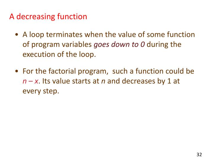 A decreasing function