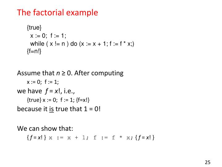 The factorial example