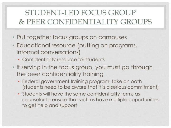 Student-led Focus Group
