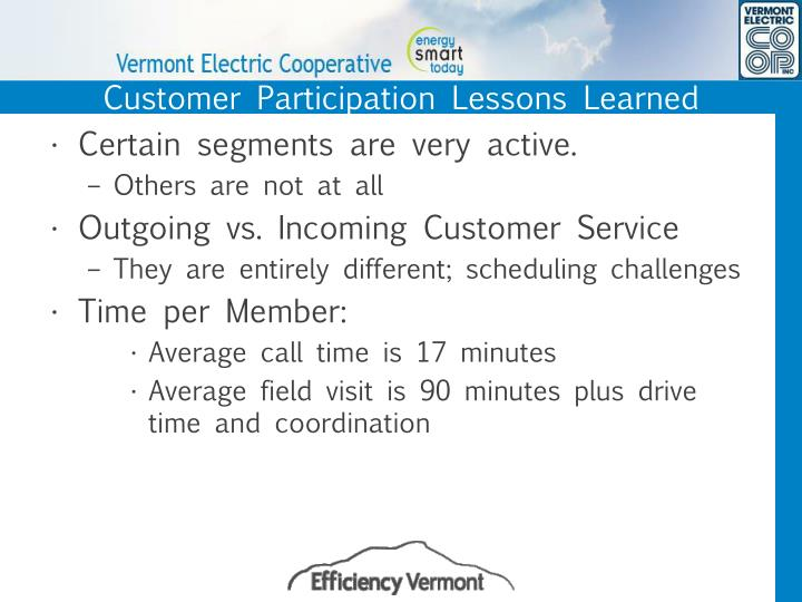 Customer Participation Lessons Learned