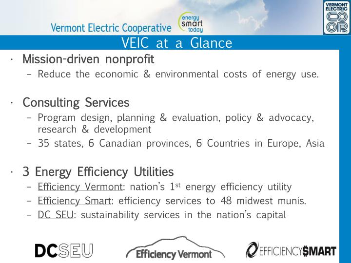 VEIC at a Glance