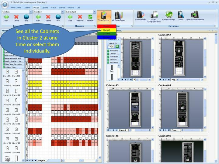 See all the Cabinets in Cluster 2 at one time or select them individually.