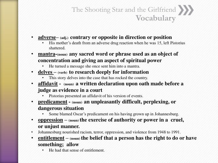 The shooting star and the girlfriend vocabulary