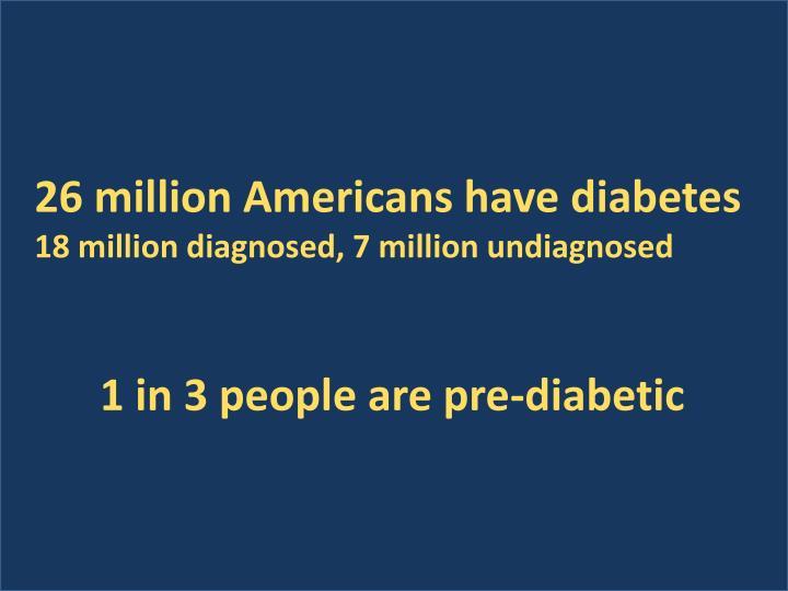 26 million Americans have diabetes