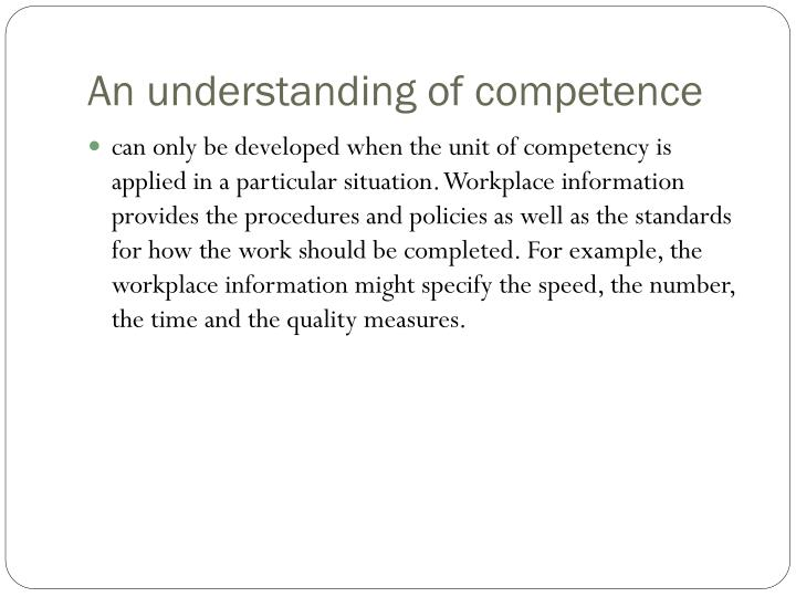 An understanding of competence