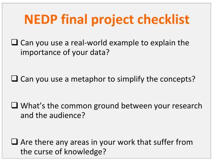 NEDP final project checklist
