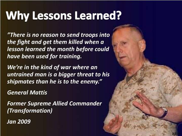 Why Lessons Learned?