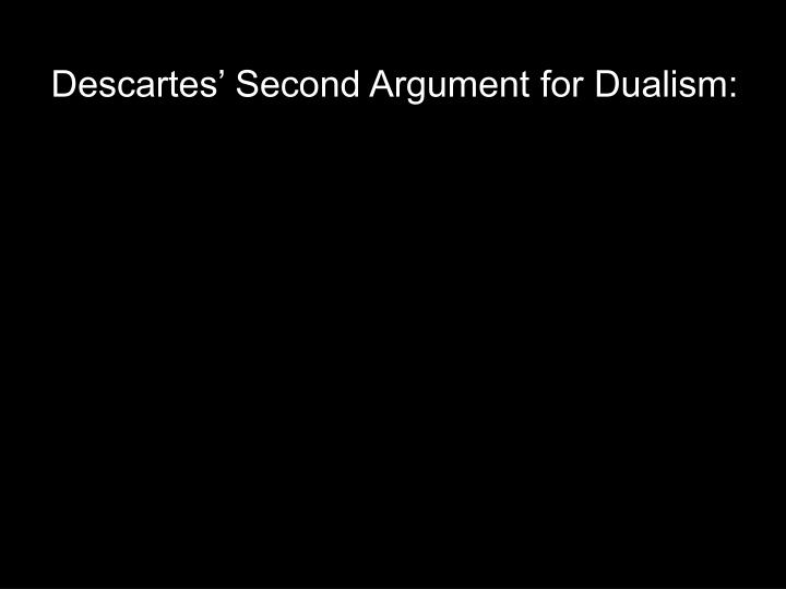 Descartes' Second Argument for Dualism: