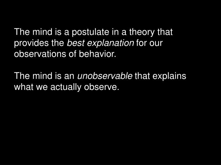 The mind is a postulate in a theory that provides the
