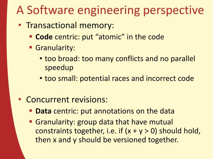 A Software engineering perspective
