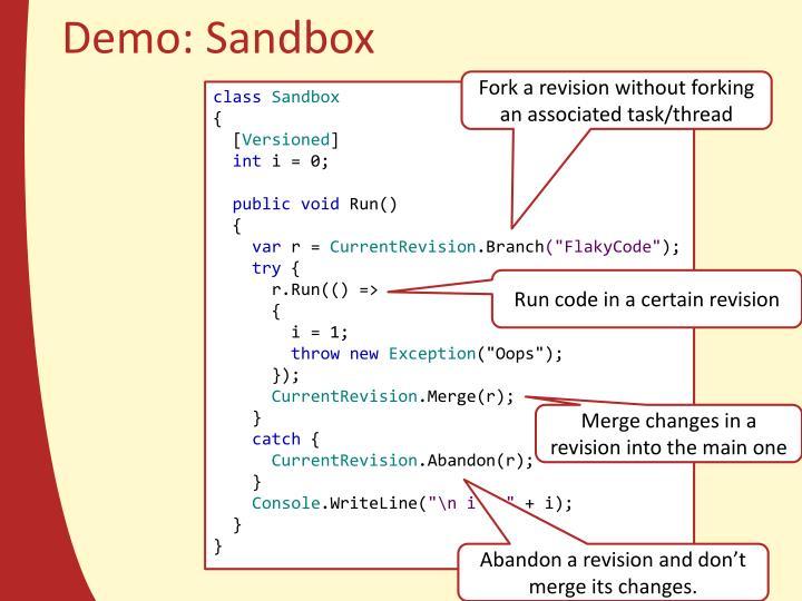 Demo: Sandbox