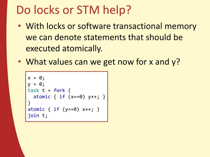 Do locks or STM help?
