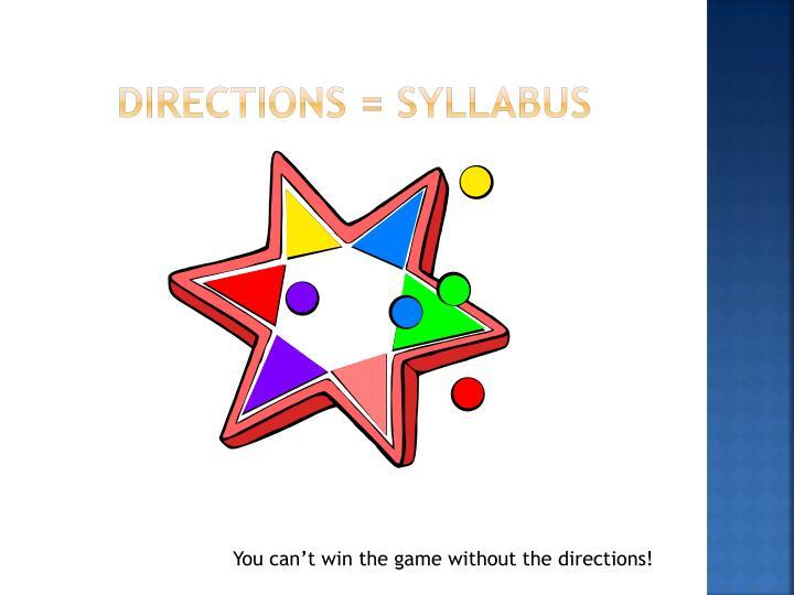 Directions = syllabus
