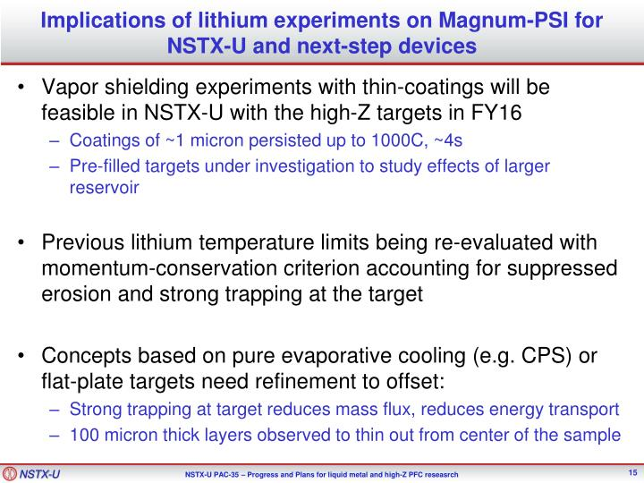 Implications of lithium experiments on Magnum-PSI for NSTX-U and next-step devices
