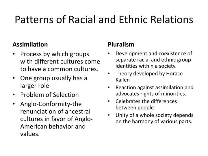 Patterns of Racial and Ethnic Relations