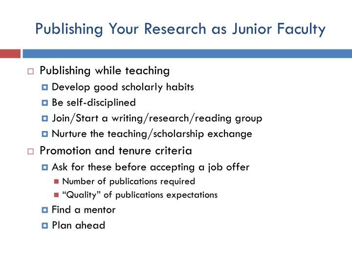 Publishing Your Research as Junior Faculty