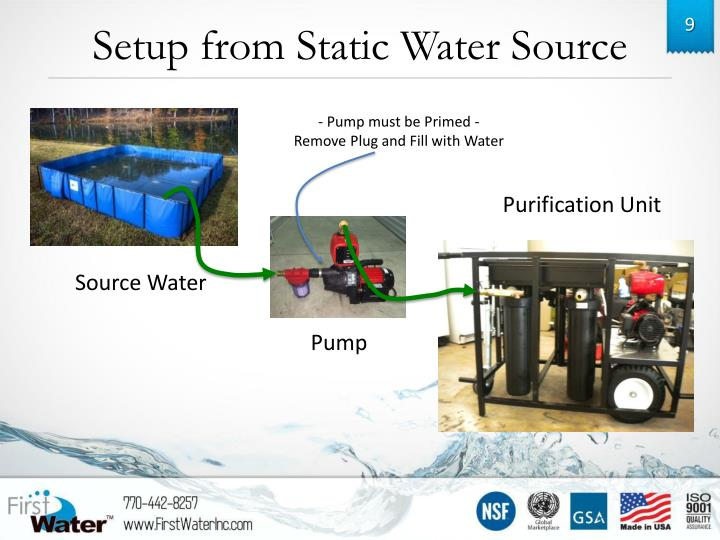 Setup from Static Water Source
