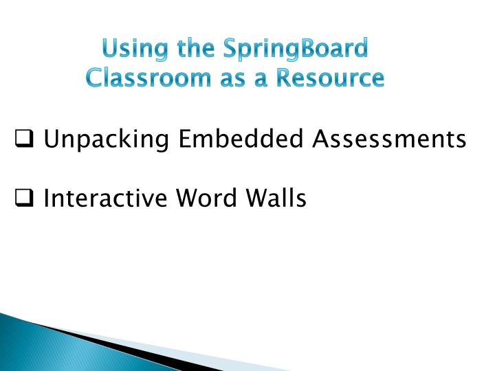 Using the SpringBoard Classroom as a Resource