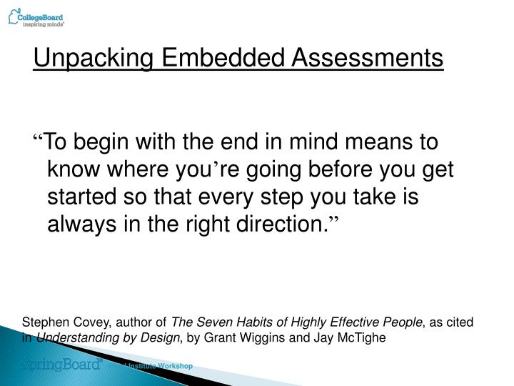 Unpacking Embedded Assessments