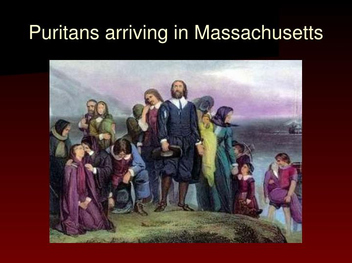 Puritans arriving in Massachusetts