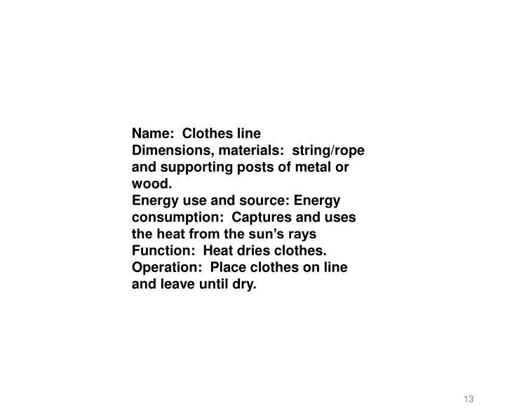 Name: Clothes line