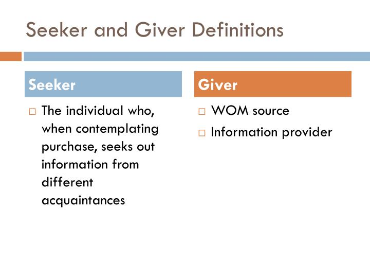 Seeker and giver definitions