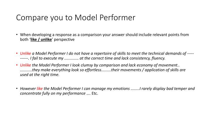Compare you to Model Performer