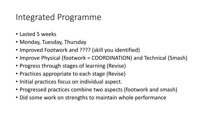 Integrated Programme