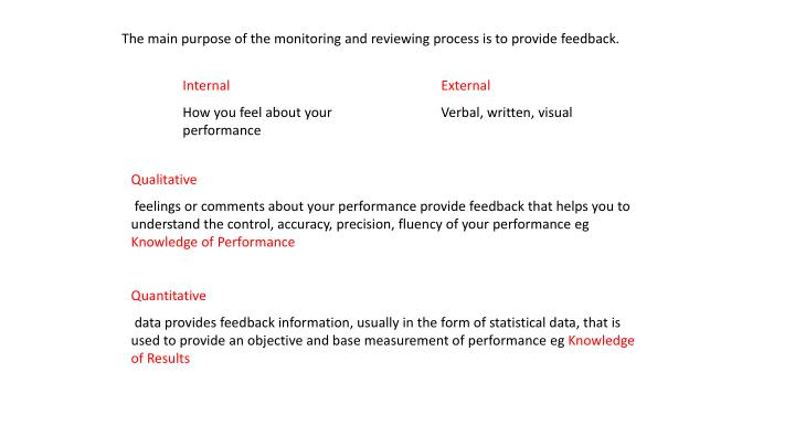 The main purpose of the monitoring and reviewing process is to provide feedback.