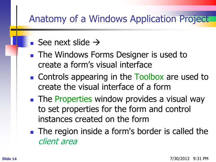 Anatomy of a Windows Application Project