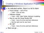 creating a windows application project 1