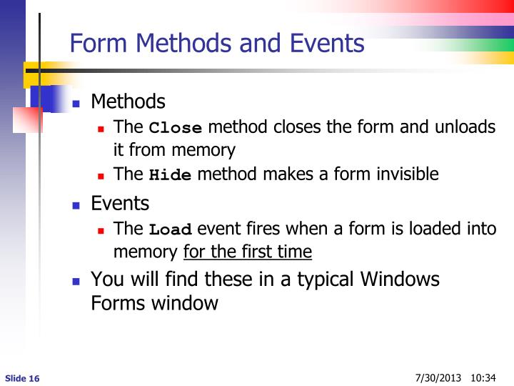 Form Methods and Events